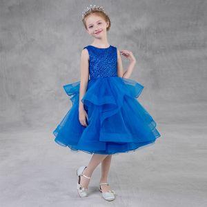 Modest / Simple Royal Blue Glitter Flower Girl Dresses 2018 A-Line / Princess Scoop Neck Sleeveless Tea-length Cascading Ruffles Puffy Wedding Party Dresses
