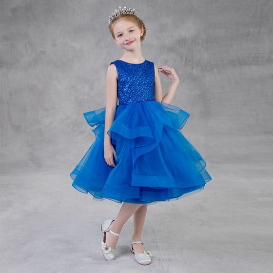 5bae0329c85ba Modest / Simple Royal Blue Glitter Flower Girl Dresses 2018 A-Line /  Princess Scoop Neck Sleeveless Tea-length Cascading Ruffles Puffy Wedding  Party ...
