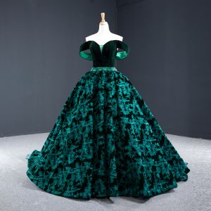 Luxury / Gorgeous Dark Green Suede Evening Dresses  2020 Ball Gown Off-The-Shoulder Short Sleeve Flower Appliques Lace Beading Sash Court Train Ruffle Backless Formal Dresses