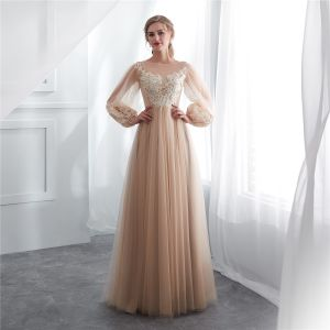 Elegant Champagne See-through Evening Dresses  2018 A-Line / Princess Square Neckline Long Sleeve Appliques Lace Floor-Length / Long Ruffle Formal Dresses