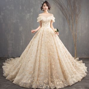 Chic / Beautiful Champagne See-through Wedding Dresses 2018 A-Line / Princess Scoop Neck Short Sleeve Backless Appliques Lace Glitter Sequins Cathedral Train Ruffle