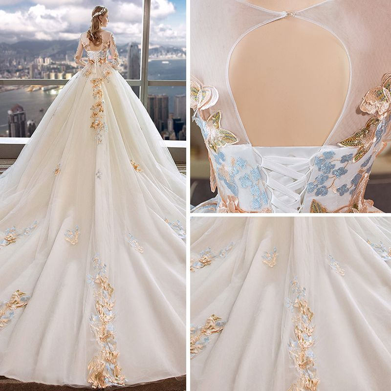 Romantic Ivory See-through Wedding Dresses 2019 Ball Gown Scoop Neck Long Sleeve Backless Butterfly Appliques Lace Cathedral Train Ruffle