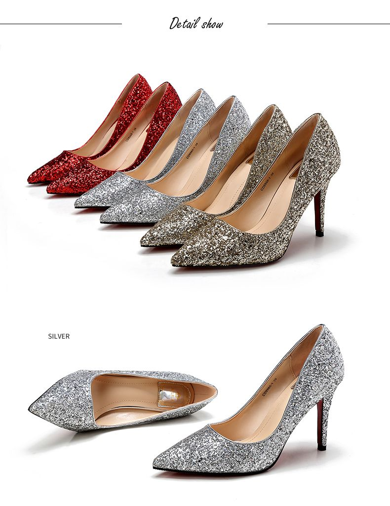 Sparkly Champagne Wedding Shoes 2017 Glitter Leather Pointed Toe Stiletto Heels Pumps