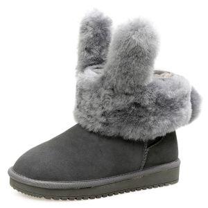 Najpiękniejsze / Ekskluzywne Buty Damskie 2017 Szary Skórzany Botki Zamszowe Przypadkowy Zima Płaskie Snow Boots