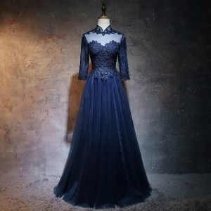 Chinese style Navy Blue Prom Dresses 2017 A-Line / Princess High Neck 3/4 Sleeve Appliques Lace Pearl Floor-Length / Long Ruffle Pierced Formal Dresses