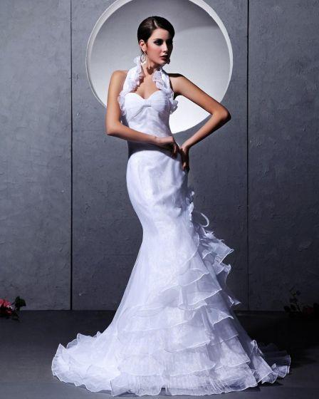 Taffeta Yarn Ruffles Tiered Ruched Halter Chapel Train Mermaid Wedding Dresses