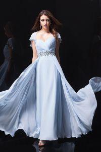 2015 Charmante A-linie Sicken Schärpe Blauen Abendkleid