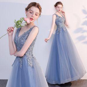 Schöne Meeresblau Abendkleider 2018 A Linie Applikationen Mit Spitze V-Ausschnitt Rückenfreies Ärmellos Lange Festliche Kleider