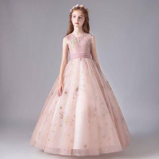 Chic / Belle Rougissant Rose Anniversaire Robe Ceremonie Fille 2020 Robe Boule Encolure Dégagée Sans Manches Appliques Étoile Paillettes Noeud Ceinture Longue Volants