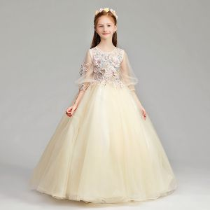 Chic / Beautiful Champagne Flower Girl Dresses 2019 A-Line / Princess Scoop Neck Puffy 3/4 Sleeve Appliques Lace Pearl Rhinestone Floor-Length / Long Ruffle Wedding Party Dresses