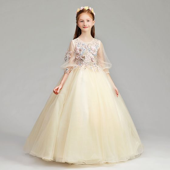 83d898f03b0 Chic   Beautiful Champagne Flower Girl Dresses 2019 A-Line   Princess Scoop  Neck Puffy 3 4 Sleeve Appliques Lace ...