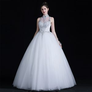 Classic See-through White Outdoor / Garden Wedding Dresses 2020 Ball Gown High Neck Sleeveless Backless Bow Beading Floor-Length / Long Ruffle