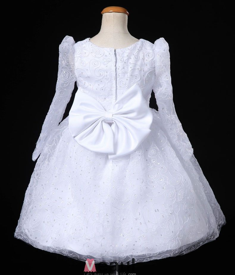 White Long-sleeved Dress Princess Flower Girl Dress