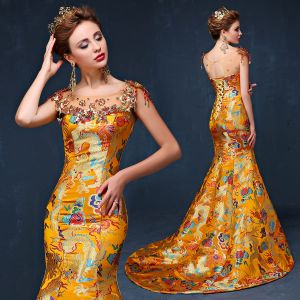 Chinese style Gold Evening Dresses  2019 Trumpet / Mermaid Scoop Neck Beading Pearl Tassel Appliques Embroidered Sleeveless Backless Sweep Train Formal Dresses