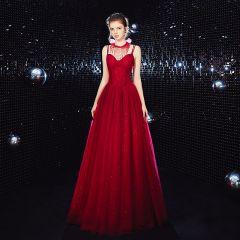 Elegant Burgundy Evening Dresses  2020 A-Line / Princess Spaghetti Straps Sleeveless Glitter Tulle Beading Floor-Length / Long Ruffle Backless Formal Dresses