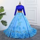 Vintage / Retro Pool Blue Prom Dresses 2019 A-Line / Princess High Neck Lace Flower Sequins Long Sleeve Backless Chapel Train Formal Dresses