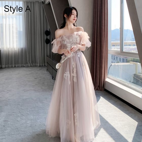 Fashion Blushing Pink Lace Flower Bridesmaid Dresses 2021 A-Line / Princess Spaghetti Straps Short Sleeve Backless Floor-Length / Long Bridesmaid Wedding Party Dresses