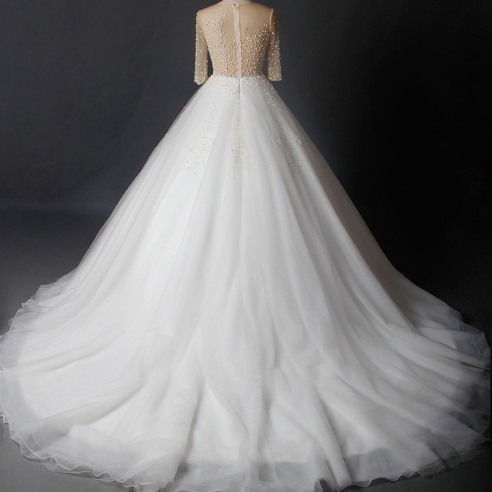 Luxury / Gorgeous White Chapel Train Wedding 2018 Long Sleeve Tulle U-Neck See-through Beading Pierced Rhinestone Ball Gown Wedding Dresses