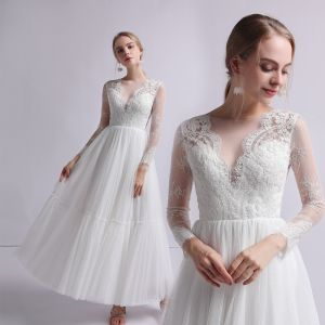 Charming Ivory Outdoor / Garden Wedding Dresses 2019 A-Line / Princess Scoop Neck Long Sleeve See-through Appliques Lace Ankle Length Ruffle