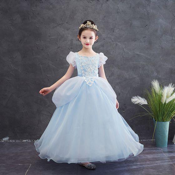 Aschenputtel Himmelblau Geburtstag Blumenmädchenkleider 2020 Prinzessin Eckiger Ausschnitt Geschwollenes Kurze Ärmel Applikationen Spitze Lange Rüschen