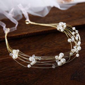 Elegante Goud Hoofdbanden Bruids Haaraccessoires 2020 Kralen Parel Lace-up Haaraccessoires Huwelijk Accessoires