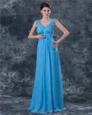 Classic Chiffon Ruffle Sweetheart Floor Length Mothers of Bride Guests Dress