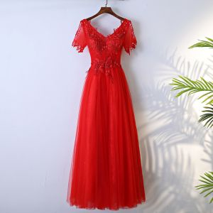 Chic / Beautiful Red Formal Dresses A-Line / Princess 2017 Lace Flower Backless Beading V-Neck Short Sleeve Floor-Length / Long Evening Dresses