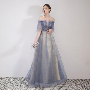 Elegant Sky Blue Evening Dresses  2019 A-Line / Princess Off-The-Shoulder Beading Lace Flower Sequins Short Sleeve Backless Floor-Length / Long Formal Dresses