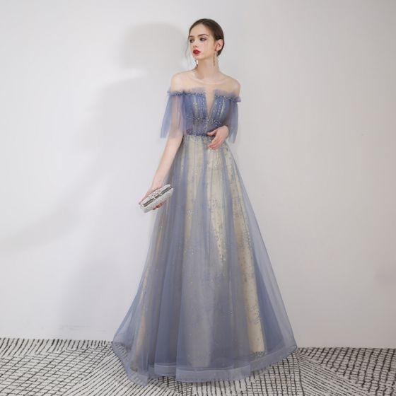 a64091ac7e5 Elegant Sky Blue Evening Dresses 2019 A-Line   Princess Off-The-Shoulder  Beading Lace Flower Sequins Short Sleeve ...