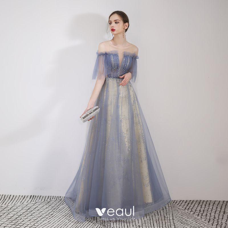 33bd838d3656b Elegant Sky Blue Evening Dresses 2019 A-Line / Princess Off-The ...