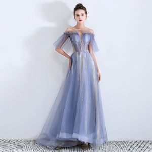 Fabulous Sky Blue See-through Evening Dresses  2019 A-Line / Princess Scoop Neck Short Sleeve Sequins Beading Glitter Tulle Sweep Train Ruffle Backless Formal Dresses
