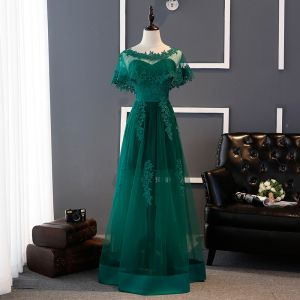 Affordable Dark Green Bridesmaid Dresses 2017 A-Line / Princess Sweetheart Appliques Lace Floor-Length / Long