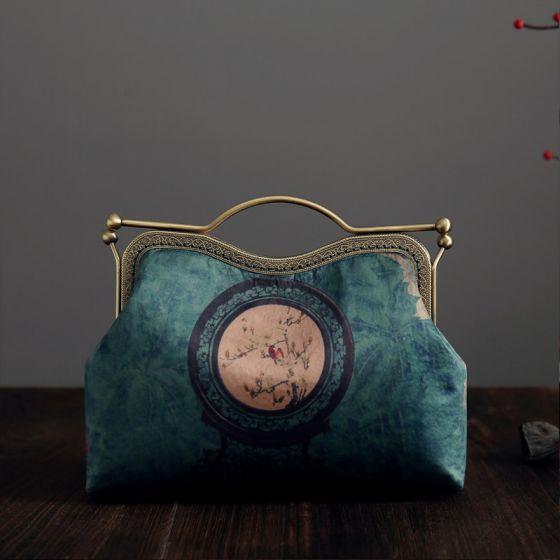 Chinesischer Stil Vintage Grün Clutch Tasche 2020 Metall Drucken Blumen Polyester