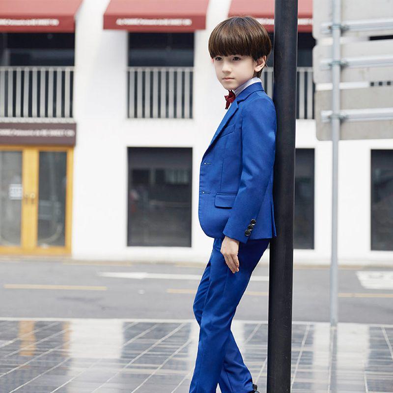 Simple Bleu Roi Manches Longues Boys Wedding Suits 2017