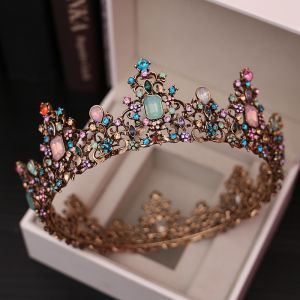 Charmant Doré Tiare Accessorize 2020 Métal Coloré Zircon Faux Diamant Accessoire Cheveux Mariage