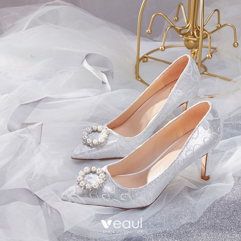 Spitze Perlen Schuhe für Braut Schwangere Brautschuhe Hochzeit Pumps Party S09