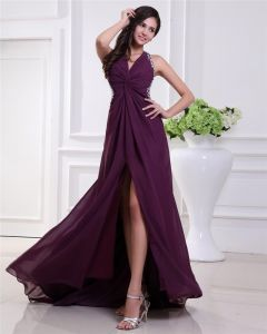 Fashion Chiffon Pleated Beaded Halter Floor Length Prom Dress