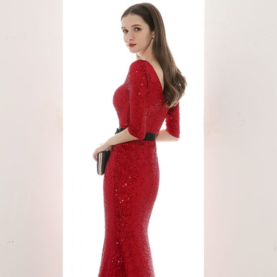 Sexy Red Sequins Evening Dresses  2020 Trumpet / Mermaid V-Neck 1/2 Sleeves Sash Split Front Floor-Length / Long Backless Formal Dresses