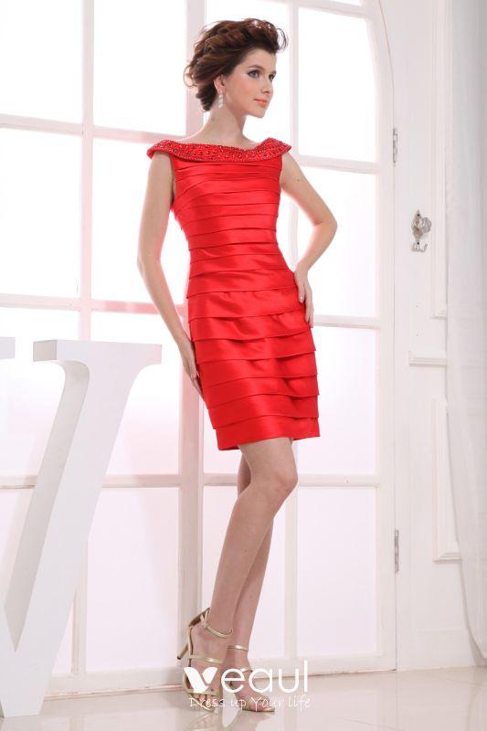 sabrina ausschnitt Ärmellos oberschenkel länge bördelndes gefaltetes  charmeuse mutter der braut kleid