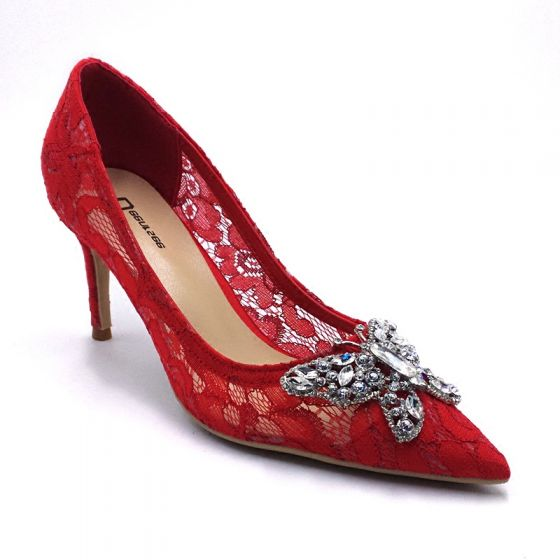 Chic / Beautiful Red Wedding Shoes 2018 Lace Rhinestone Butterfly 8 cm Pointed Toe Pumps