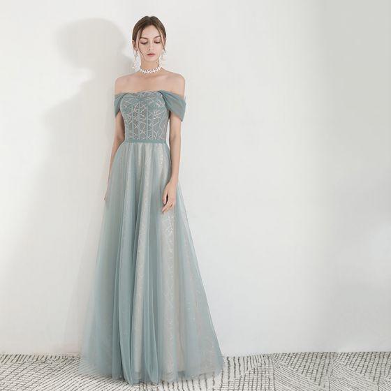 Elegante Grün Abendkleider 2019 A Linie Off Shoulder Kurze Ärmel Glanz Tülle Lange Rüschen Rückenfreies Festliche Kleider