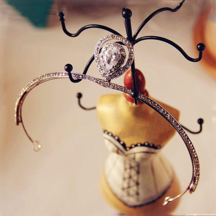 Amazing / Unique Silver Crystal Tiara 2017 Beading Rhinestone Metal Accessories Bridal Jewelry