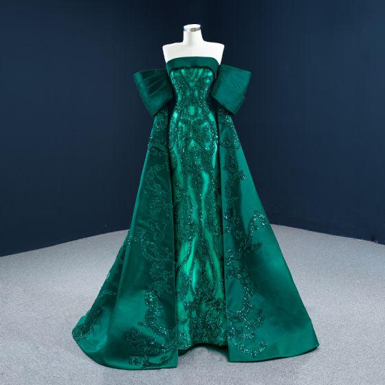Luxury / Gorgeous Dark Green Satin Red Carpet Evening Dresses  2021 A-Line / Princess Strapless Short Sleeve Sequins Sweep Train Ruffle Backless Formal Dresses