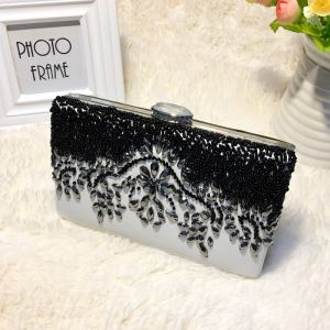 Chic / Beautiful 2017 Black White Leaf Crystal Rhinestone PU Cocktail Party Evening Party Outdoor / Garden Clutch Bags