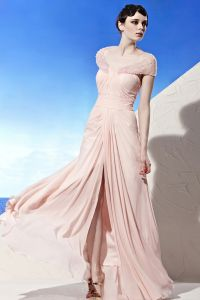 V Neck Wrap Shoulder Beading Sleeveless Backless Floor Length Tencel Woman Evening Dresses