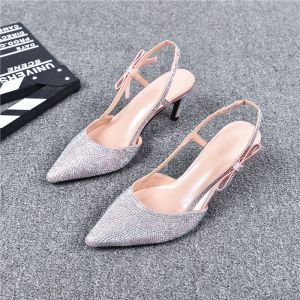 Charming Silver Evening Party Womens Sandals 2019 Leather Rhinestone Ankle Strap 7 cm Stiletto Heels Pointed Toe High Heels