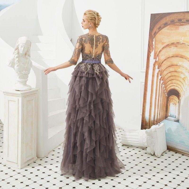Illusion Marron Transparentes Robe De Soirée 2019 Princesse Encolure Dégagée 1/2 Manches Ceinture Appliques En Dentelle Longue Volants en Cascade Robe De Ceremonie