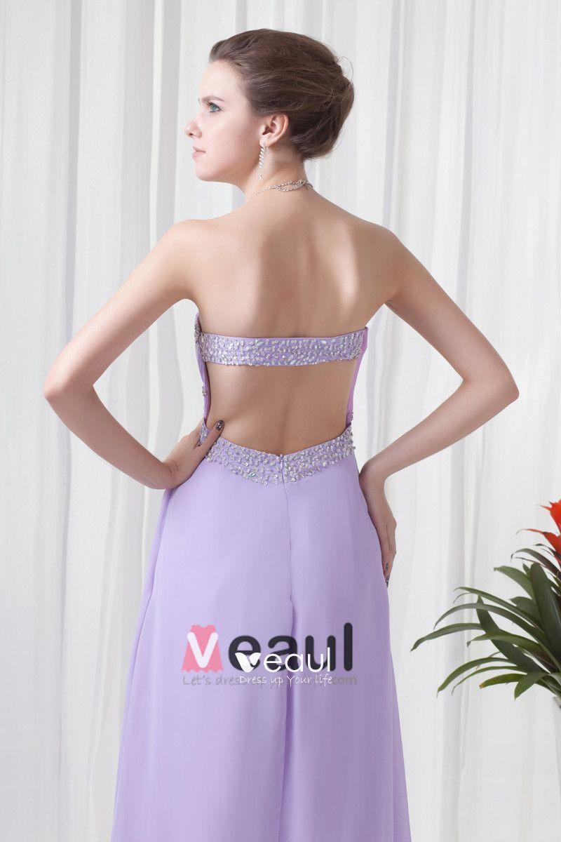 Elegant Beading Ruffle Strapless Floor Length Chiffon Evening Dresses