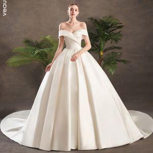 Modest / Simple Ivory Satin Wedding Dresses 2019 Princess Off-The-Shoulder Short Sleeve Backless Chapel Train Ruffle