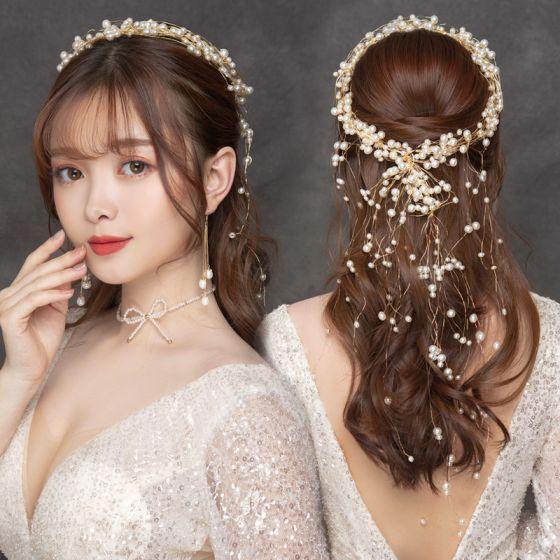 Eleganta Guld Pannband Brudsmycken 2020 Legering Pärla Hårsmycken Halsband Tassel Örhängen Bröllop Tillbehör